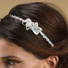 Couture Wedding Headband with Crystal Bow