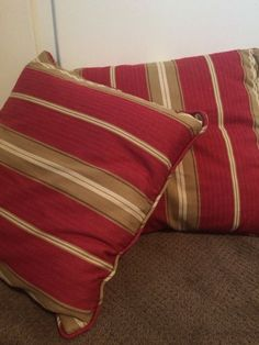Pottery Barn Neutral Tan Brown Fringe Awning Stripe Cotton Throw New