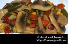 Ciuperci proaspete cu legume mexicane congelate Meatless Recipes, Cabernet Sauvignon, Chicken, Food, Eten, Meals