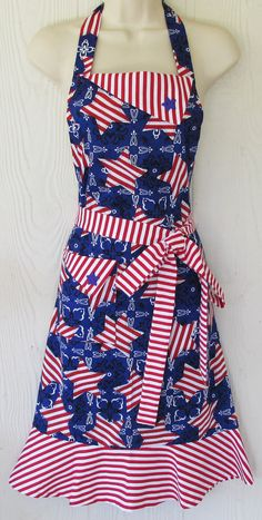 Patriotic Apron, July 4th, American Flag Apron, Red White and Blue, Stars and Stripes, Fourth of July, Womens Full Apron , KitschNStyle