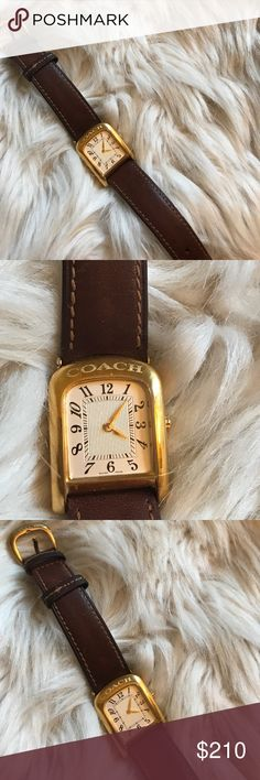 Vintage Coach watch Swiss Made Excellent condition Coach watch with brown genuine  leather. Swiss made. Minor scratches on band but not noticeable. Just replace new battery and is ready to wear. 💯authentic. Offer no trade. Coach Accessories Watches