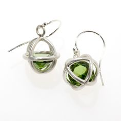 Kitty Toy earrings in sterling silver with loose 10mm round synthetic peridots