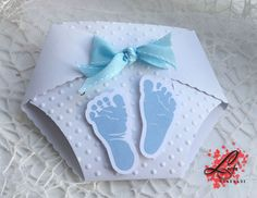 set of 10 Handmade Nappy / Diaper Baby Shower Invitations, Christening Invitations, Baptism invitation with Blue Baby feet and Bow by LusyFashionJewelry on Etsy Baby Shower Diapers, Baby Boy Shower, Baby Shower Gifts, Christening Invitations Boy, Baby Shower Invitations, Diaper Invitations, Baby Shower Pictures, Star Baby Showers, Baby Feet