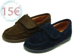 Tienda online de calzado infantil Okaaspain. Mocasín de serraje con velcro. Calidad al mejor precio hecho en España.