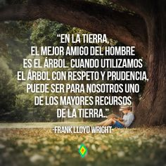 En la tierra el mejor amigo del hombre es el árbol. Cuando utilizamos el árbol con respeto y prudencia puede ser para nosotros uno de los mayores recursos de la tierra.