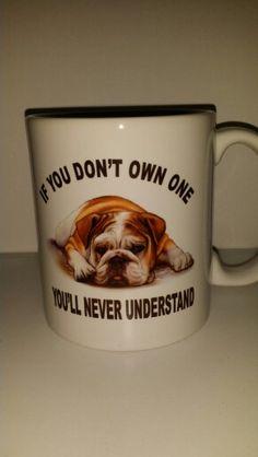 Custom English Bulldog Mug. www.facebook.com/mgspromos