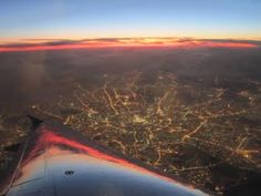 View of Moscow by night, from a Brussels Airlines A319.