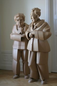 in the warren king cardboard shaoxing villagers series, the artist sculpts residents of his grandparents' home village china, one individual at a time. Cardboard Sculpture, Paper Mache Sculpture, Sculpture Art, Paper Art Design, Sculpting, Modern Art, Paper Crafts, Statue, Artist