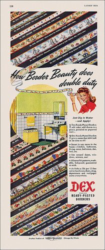 How border beauty does double duty -Dex Borders ad, 1947. #vintage #1940s #home #decor #ads