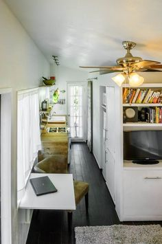 macy millers diy mortgage free tiny house 004   Woman Builds her own DIY 196 Sq. Ft. Micro Home for $11k.  By far the best interior design of a tiny house trailer I've seen.  Gorgeous and innovative!