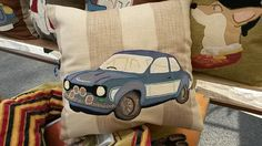 Personalised cushions handmade from Bye Brytshi - 45x45cm - mixed cotton and ticking - Ford car - www.byebrytshi.com
