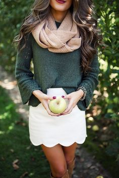 Gorgeous colors, textures, and style. Love the scalloped skirt and bell sleeves. #falldresses