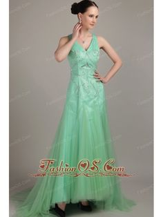 Apple Green Empire V- neck Brush / Sweep Tulle Beading Prom Dress- $152.26  http://www.fashionos.com   inexpensive prom dress   custom made prom dresses   fitted and sexy dress   strapless beaded prom dress   a dress of elegance for your prom   flowing dancing dress   wholesale prom dress  
