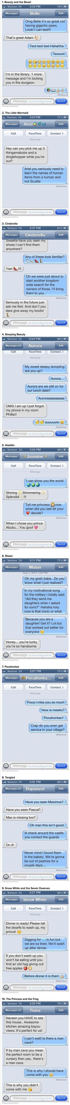 Here are some funny and weird text messages from Disney princesses to their princes. Mulan is the best! Walt Disney, Disney Love, Disney Magic, Disney Couples, Disney High, Disney Princesses And Princes, Disney Princess Belle, Princess Style, Disney Memes