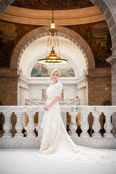 Modest Lace Wedding Dress with Round Jewel Neck Vintage by ieie