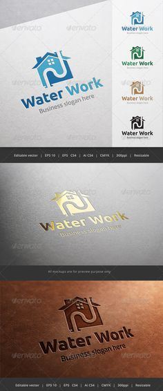 Water Work Plumber  Logo Design Template Vector #logotype Download it here:  http://graphicriver.net/item/water-work-plumber-logo/5664159?s_rank=89?ref=nesto