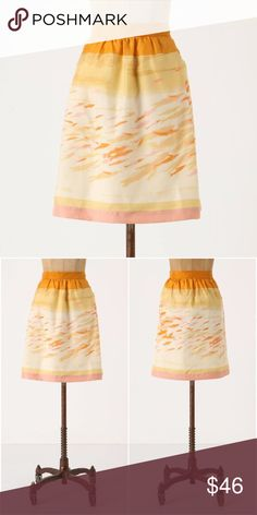 """Anthropologie We Love Vera Goldfish Bowl Skirt $98 🦄 Size 10. We Love Vera from Anthropologie. Originally $98. """"Tiny swimmers dart across We Love Vera's silken A-line. RARE, sold out, & hard to find. Perfect for animal / fish / novelty lovers & Anthropologie collectors! 🦄 Anthropologie Skirts A-Line or Full"""