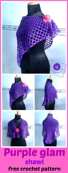 crochet purple glam shawl, crochet shawlette, crochet wrap, crochet shawl free pattern