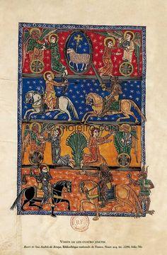 Vision of the Four Horsemen of the Apocalypse -- Illuminated manuscripts. Liébana Beatus. Manuscritos iluminados. f. 70v, Beatus of Arroyo