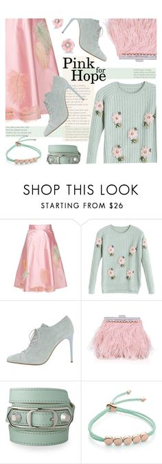 """""""I wear pink for hope"""" by sara-cdth ❤ liked on Polyvore featuring Miu Miu, Acne Studios, Miss KG, Balenciaga, Monica Vinader and Irene Neuwirth"""