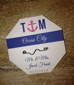 Anchor Initials Beach Badge Place Cards or Escort Cards  by BoardwalkBridal OUR BIGGEST SELLER Cost: $2.50 each  Beach Wedding Escort Cards - Anchor  Blue Navy Pink Seating Place Cards