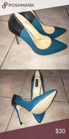 Teel with black heel pumps Never worn before Sophia & Lee pointed toe pumps Shoe Dazzle Shoes Heels