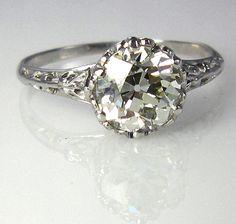 Antique 1900s..1.42ct Old European Round VINTAGE ESTATE Solitaire Diamond Ring