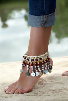 A stainless-steel band will use better than leather, and is normally waterproof, but attempt it on in case it feels too heavy or overwhelms your wrist. Boho Shoes, Boho Sandals, Bare Foot Sandals, Ankle Jewelry, Ankle Bracelets, Body Jewelry, Jewelry Crafts, Handmade Jewelry, Ethno Style