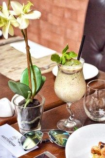My Mocktail – Prince of the Middle East made with pineapple, coconut cream, coconut syrup, mint leaves, kiwi and pomegranate seeds