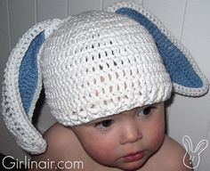 SOOO CUTE bunny crotchet hat <3 Free pattern for baby and toddler :)