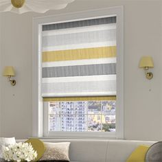 Excellent Pic Roman Blinds kids Concepts Roman blinds are a popular favourite among conscious homeowners as they feature a classy, stylish and affordable means t Bathroom Blinds, Kitchen Blinds, Bathrooms, Grey Roman Blinds, Grey Yellow Kitchen, Yellow Kitchen Accessories, Grey Room, Window Dressings, Roller Blinds