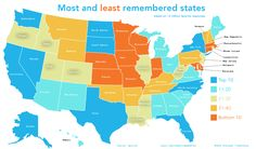 Most and least remembered US states.