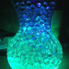 Another way to do the centerpiece. Water beads with submersible tealights. Use our blue and green submersible tea lights for this. http://www.bluedottrading.com/led-tea-lights/submersible-led-tea-lights.html