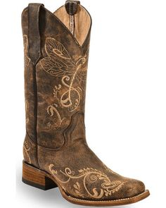 Circle G Dragonfly Embroidered Cowgirl Boots - Square Toe, Brown