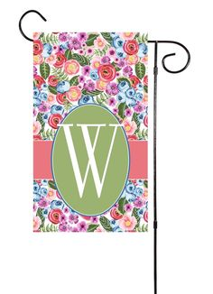 Watercolor Floral Blueberries Initial Garden Flag