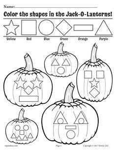 Help your students learn their shapes with these fun Jack-O-Lantern shapes worksheets! These free fall themed shapes coloring pages will help your students not only get familiar with shapes, they. Shapes Worksheets, Preschool Worksheets, Preschool Coloring Pages, Tracing Worksheets, Autumn Activities, Toddler Activities, Halloween Activities For Preschoolers, Therapy Activities, Fall Preschool