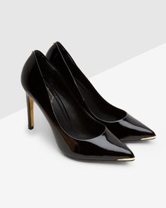 Pointed leather court shoe - Black | Shoes | Ted Baker