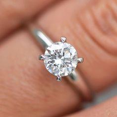 Real 14K Solid White Gold 1 Ct Round Brilliant Enhanced Diamond Ring F VS2 #MyDiamonds #SolitaireRing #ring #diamond