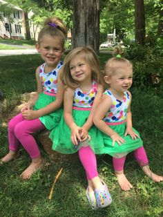 This is a triple treat of cuteness!! These FabKids look adorable in their matching FabKids COLORFUL BALLERINA OUTFIT