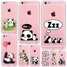 Cute Cartoon Animal Panda Case For Iphone 6 6S 7 SE 5 5S 6Plus 7Plus 4 4S Transparent Silicone Phone Back Cover Coque