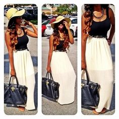 Summer Outfit -so cute & simple.  I'd style w/ a different bag tho.