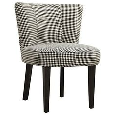 Accent Chair with Curved Back  Hounds tooth black and white fabric #upholstery. Curved back and round seat. Tall tapered legs. Assembly required. Seat: 22 in. Dia. x 17.75 in. H. Overall: 26 in. W x 25.75 in. D x 34 in. H. Warranty.