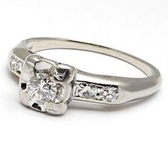 ECO FRIENDLY VINTAGE DIAMOND ENGAGEMENT RING SOLID 14K WHITE GOLD