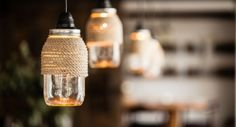 Currently on our radar: DIY rope-wrapped Mason-jar hanging lights spotted last winter and filed...