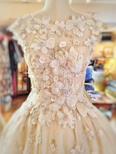 Embroidered ivory flower embellished wedding dress by Joanne Fleming Design
