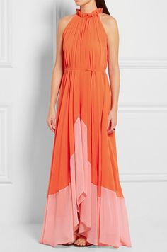 SALONI Iris crinkled-georgette halterneck maxi dress