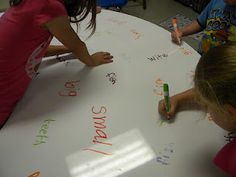"""Thinking tables to brainstorm writing ideas, other ways to say """"said"""" or """"fun"""", descriptive words, etc."""