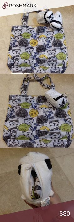 Disney Star Wars Storm Trooper tsum tsum Eco bag Authentic Disney Star Wars Storm Trooper tsum tsum Eco bag and charm.  Eco bag is inside of the tsum tsum and there is a zipper underneath to remove the bag.  The tsum tsum can be used as charm on your handbag and super easy to carry around. Last photo is to give an idea of what the bag will look like and its size. Disney Bags Totes