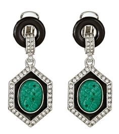 Deco Black and Jade Clip Earring