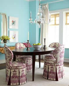 Haute House Gardon Dining Chair & Allerton Dining Table via @horchow - Using @wmbgbrand Toile Orientale fabric in Plum #Amethyst #Chinoiserie
